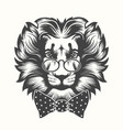 Lion head with round glasses and bow tie