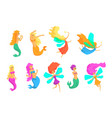 mermaids and fairies fairy-tale fantastic vector image vector image