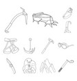 mountaineering and climbing outline icons in set vector image vector image