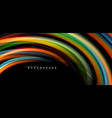 multicolored wave lines on black background design vector image vector image