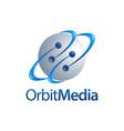 orbit media sphere planet logo concept vector image vector image