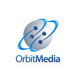 orbit media sphere planet orbit logo concept vector image vector image
