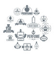 perfume bottles logo icons set simple style vector image