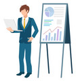 presenter with whiteboard and charts on board vector image