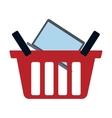 red basket buy online laptop network vector image