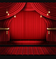 red stage curtain with seats and copy space vector image vector image