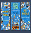 repair and construction tool cartoon banner set vector image