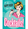 Retro style Cocktails poster or invitation vector image vector image