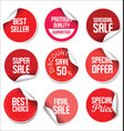 sale stickers and tags red design vector image vector image
