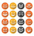 Scary Halloween pumpkin faces flat design icons vector image vector image