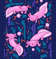 seamless pattern with axolotl graphics vector image