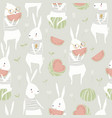 seamless pattern with cute rabbits and watermelon vector image vector image