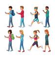 set of people using smartphone vector image