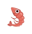 Shrimp Simple Cartoon Character vector image vector image