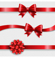 silk red bow and transparent background vector image vector image