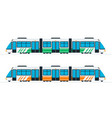speed intercity train in green and orange color vector image