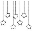 stars hanging icon in black and white vector image vector image