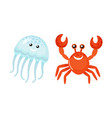 summer sea characters jellyfish and red crab vector image vector image