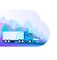 truck delivery truck car on road in flat style vector image