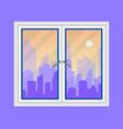 window and city view evening city skyline vector image vector image