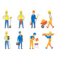worker with tools and instrument for work set vector image vector image