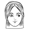 young girl face avatar cartoon in black and white