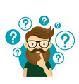 young hipster business man thinking standing vector image