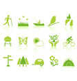green color garden icons set vector image