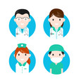 medical personnel characters flat icon set vector image
