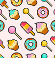 Pink candy stitch patch style seamless background vector image