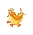 flat cartoon dragon with horns wings vector image