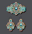 a vintage brooch of beads and earrings with pearls vector image vector image
