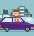 angry caucasian man in car stuck in traffic jam vector image vector image