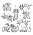 Art cats with floral ornament for your design vector image