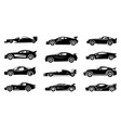 black silhouette race cars sports symbols vector image