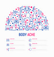 body aches concept in half circle vector image vector image