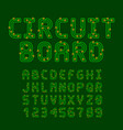 circuit board style latin font letters and vector image