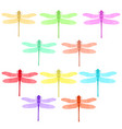 colorful stilized dragonfly insect logo design vector image vector image
