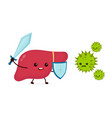 cute strong happy smiling healthy liver vector image