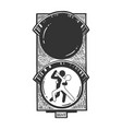 dancing couple on traffic light sketch engraving vector image