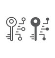digital key line and glyph icon security safety vector image vector image