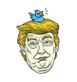 donald trump with his pet bird cartoon caricature vector image vector image