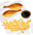fish and chips served with sauce vector image vector image