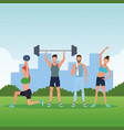 fitness people doing exercise vector image
