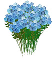 Grand bouquet of blue roses for a meeting or vector image