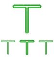 Green line t letter logo design set vector image vector image