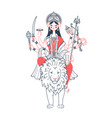 icon of goddess durga two colors vector image vector image