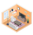 isometric hall tv couch sofa bookshelf modern vector image
