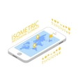 Isometric mobile GPS navigation concept vector image