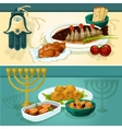 Jewish cuisine dishes for holiday dinner banners vector image vector image